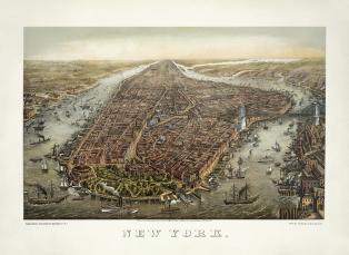 Manhattan, à New-York, en 1873 (de George Schlegel)