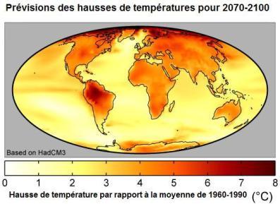 Prévisions des hausses de température à l'horizon 2070-2100 (source: Wikipédia)