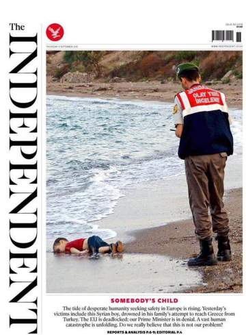 La Une de The Independent, le 5 septembre 2015.